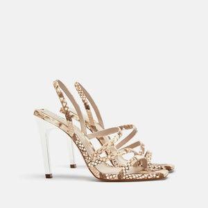 Zara snake print leather sandals